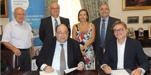(L-R standing) Godwin Xerri, MMF Board Member and Managing Director, Focal Marine Shipping Agency, Joe Borg, MMF Chairman and former EU Commissioner, Dr Ann Fenech, MMF Board Member and President of the Malta Maritime Lawyers' Association, Joseph Bugeja, MMF CEO and General Manager, Malta Motorways of the Seas, (seated) Michael Callus, MMF Board Member, Head of Education, Safety, Quality Sub-Committees and Director Medsea Shipping Agency, and Matt Gilbert, Head of Business & Partnerships, The In