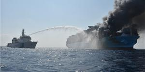 The Indian Coast Guard battles a fire aboard the Maersk Honam earlier this month (Photo: Indian Coast Guard)