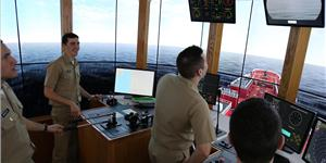 The Bouchard Tug and Barge Simulator at SUNY Maritime College offers state-of-the-art brown water training to SUNY cadets and industry professionals alike. (CREDIT: SUNY)